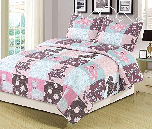 HowPlum Full/Queen Quilt Floral Patchwork Cats Bedspread Bedding 3 Piece Set Pink Blue Purple