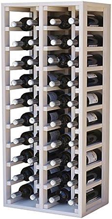 Expovinalia Botellero, 4 Modulos, Capacidad 40 Botellas, Madera, Blanco, 105x44x32 cm