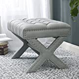 Cheap Inspired Home Louis Linen Button Tufted Silver Nailhead Trim X-Leg Ottoman, Light Grey