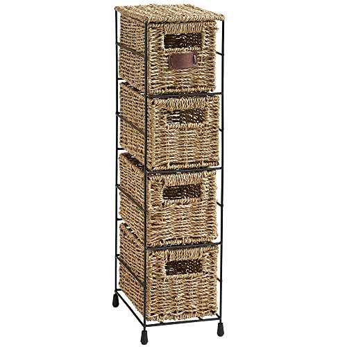 VonHaus 4 Tier Small Seagrass Basket Storage Tower Unit with Metal Frame - Ideal for Small Bathrooms & Home Storage (25.4 x 9.5 x 6.7)