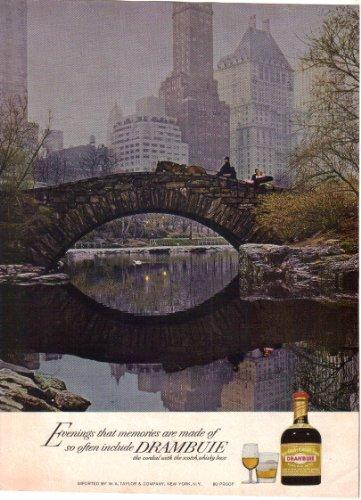 Drambuie Liqueur Magazine Print Ad, Gapstow Bridge, Central Park, NY (1968)