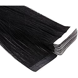 Neitsi A6 12inch Tape in Human Hair Extension Seamless Skin Weft Straight Remy Hair 10pcs (1#)