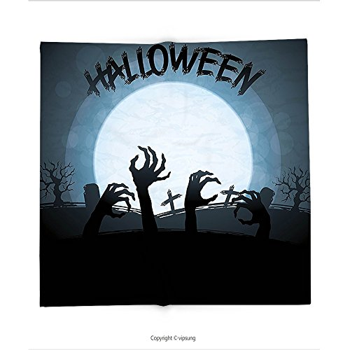 Custom printed Throw Blanket with Halloween Decorations Collection Spooky Zombie Hands Out of Grave Rise of the Dead Fiction Fantasy Party Theme Blue Black Super soft and Cozy Fleece Blanket