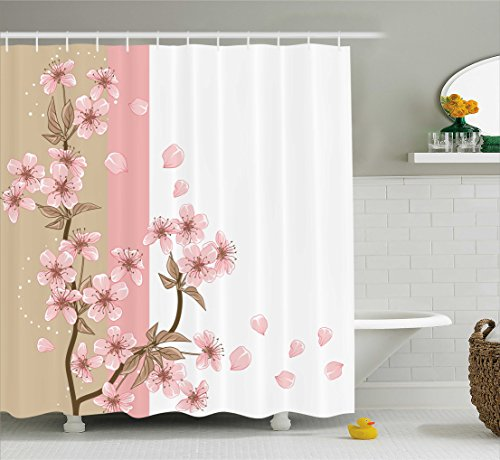 Japanese Shower Curtain by Ambesonne, Romantic Sakura Blooms Flowers Petals Spring Wind Eastern Nature Theme, Fabric Bathroom Decor Set with Hooks, 70 Inches, Sand Brown Light - Brown Pink Color