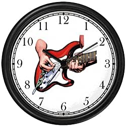 Electric Guitar Being Played - Musical Instrument - Music Theme Wall Clock by WatchBuddy Timepieces (Black Frame)