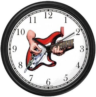 WatchBuddy Electric Guitar Being Played – Musical Instrument – Music Theme Wall Clock Timepieces Black Frame