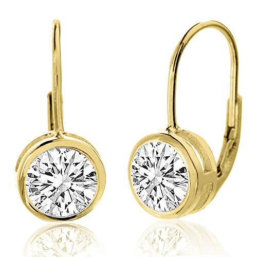 - MIA SARINE 8mm Round Bezel Set Solitaire Cubic Zirconia Leverback Earrings for Women in Yellow Gold Plated Sterling Silver (Yellow)