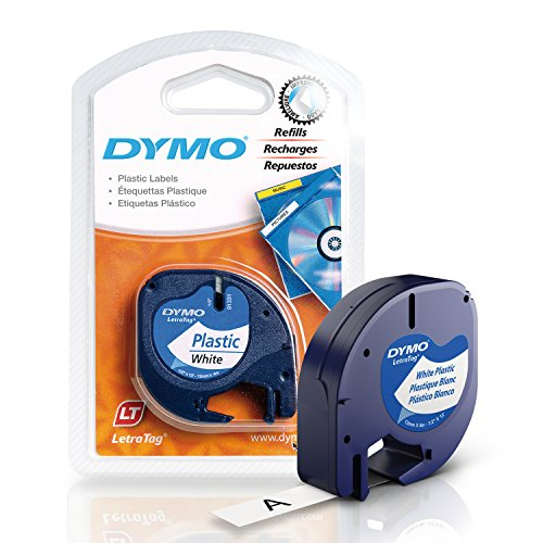 DYMO LetraTag Labeling Tape for LetraTag Label Makers, Black print on White plastic tape, 1/2'' W x 13' L, 1 roll (91331)