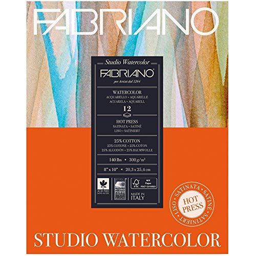 Fabriano Studio Watercolor Paper 90 lb. Hot Press 75-Sheet Pad 11x14