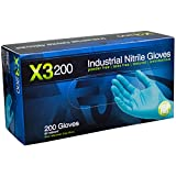 AMMEX - X3D44100-BX - Nitrile Gloves - Disposable, Powder Free, Latex Free, 3mil, Food Safe, Medium, Blue (Box of 200)