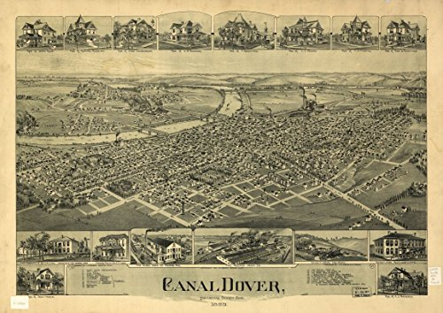 8 x 12 Reproduced Photo of Vintgage Old Perspective Birds Eye View Map or Drawing of: Canal Dover, Tuscarawas County, Ohio 1899. Downs, A. E. (Albert E.) (Tuscarawas County Ohio Map)