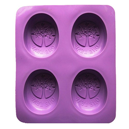 Allforhome 4 Cavity Tree of Life One Leaf Oval Soap Mold Silicone Soap DIY Molds Handmade Soap Making Moulds