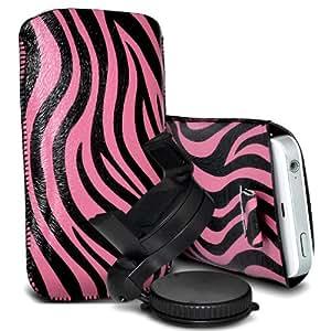 Samsung Galaxy Express 2 Protección Premium de Zebra PU tracción Piel Tab Slip Cord En cubierta de bolsa Pocket Skin rápida con el sostenedor 360 giratorio del parabrisas del coche Cuna Rosa y Negro por Spyrox