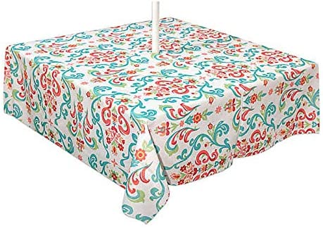 Turquoise Elrene Home Fashions Chase Geometric Modern Pattern Stain Resistant Spill-Proof Indoor Outdoor Tablecloth for Spring//Summer 70 Round Umbrella Zip