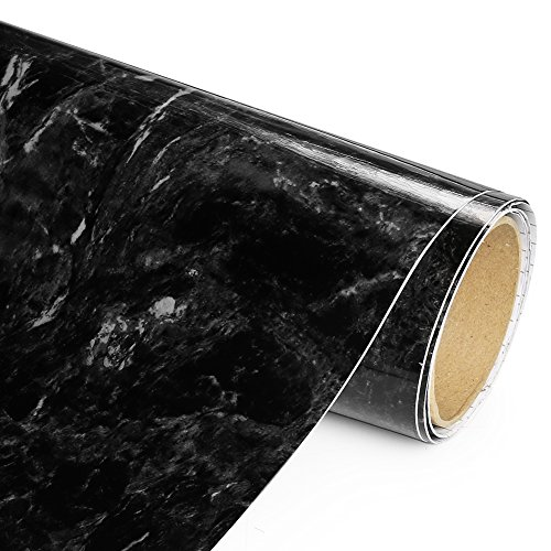 Adhesive Films Black Marble High Gloss - Economical Alternative to rehabilitate Your countertops, backsplash and cabinets (80