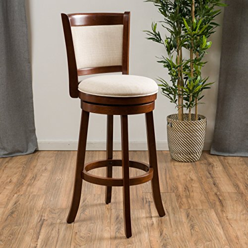 (Great Deal Furniture | Davis | Fabric Swivel Bar Stool | in Beige/Brown )
