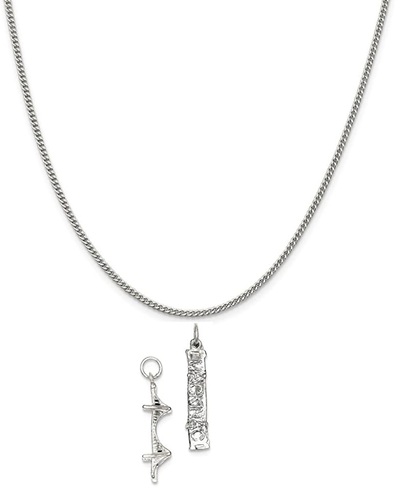 Sterling Silver Mackinac Bridge Charm on a Sterling Silver Chain Necklace 16-20