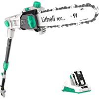 LiTHELi 40V Cordless 10 inch Telescopic Pole Chainsaw Tree Cutter Pruner Kit, Multicolor