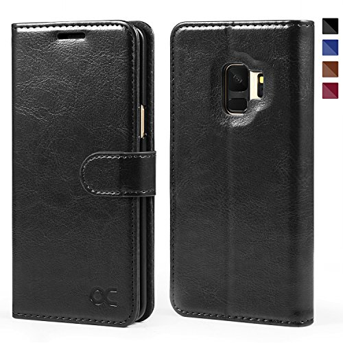 (OCASE Samsung Galaxy S9 Case Leather Flip Wallet Case for Samsung Galaxy S9 Devices (Black))