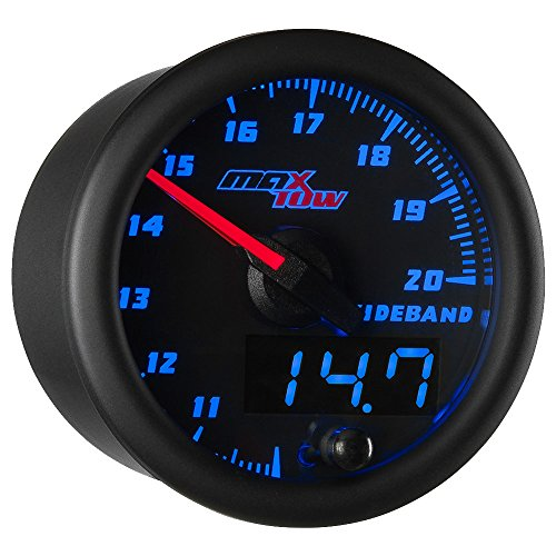MaxTow Black & Blue Wideband Air/Fuel Ratio Gauge with Oxygen Sensor and Data Logging ()