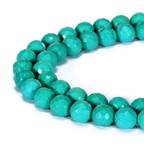 Round Chinese Beads Crystal Faceted (BRCbeads Gorgeous Natural Chinese Green Turquoise Gemstone Faceted Round Loose Beads 8mm Approxi 15.5 inch 45pcs 1 Strand per Bag for Jewelry Making)