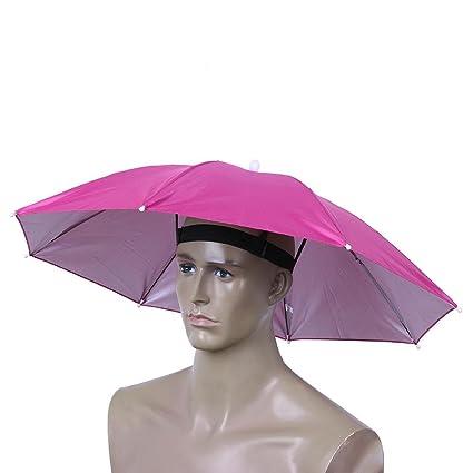 domybest plegable cabeza paraguas al aire libre impermeable pesca Camping sol sombra anti-rain sombrero