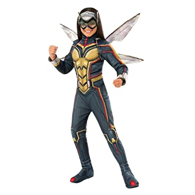 Marvel Girls' Wasp Avengers Deluxe Halloween Costume with Wings (Multicolor, Large): Clothing