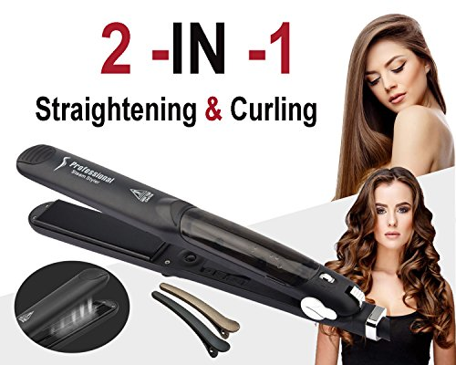 Professional Steam Straighteners Flat Iron Hair Salon Steam Styler Vapor Flat Iron for any Type of Hair 2 in 1 Curling and Straightening Steam Flat Iron with Steamer,300-450℉LCD Display,Dual Voltage