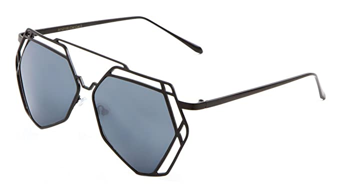 94d7db0b35 Amazon.com  Geometric Wire Metal Frame Sunglasses (Black