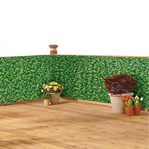 - Collections Etc Faux Ivy Privacy Weather-Resistant Fence Cover - Metal Eyelets and Rope Included for Easy Installation