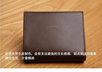 Hombre de carteras, moda hombres, pequeñas carteras de cuero, de cuero de los hombres cortos de tarjetas, tarjetas comerciales, bolsas,marrón oscuro: ...