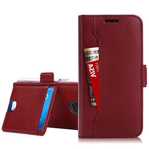 Galaxy S9 Plus Case,Galaxy S9 Plus Wallet Case, WWW [Genuine Lambskin Leather] Wallet Case with [Kickstand] [Card Slots] and [Cash Holder] for Samsung Galaxy S9 Plus Wine Red