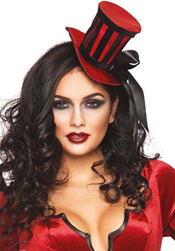 Leg Avenue Satin Top Hat With Stripes And Satin Bow Accent, Red/Black, One Size - Sexy Top Hat