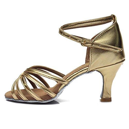 YFF Ballsaal Damen Latin Dance Schuhe für Mädchen Salsa Tango, Gold 7 cm Absatz, 6.