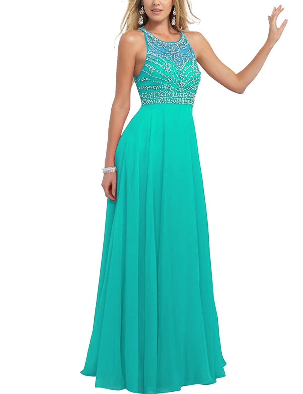 HUINI Beaded Sequins Sheer Chiffon Long Prom Evening Dresses Party Formal Gowns