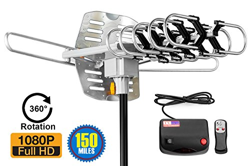 ViewTV 2018 Version Outdoor Amplified Digital HDTV Antenna - 150 Mile Range - Motorized 360° Rotation - 40FT Coax Cable - Wireless Remote Control - UHF/VHF 4K 1080P Channels (Best Digital Freeview Recorder)