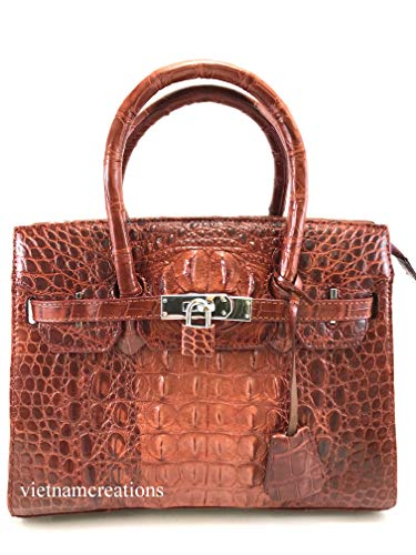 New Genuine Alligator Crocodile Hornback Leather Luxury Women Handbag Bag Tote (Brown) # HB105