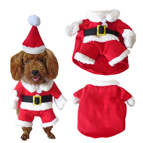 UHeng Funny Pet Dog Suit Christmas Costumes Winter Hoodies Xmas Santa Clothes -