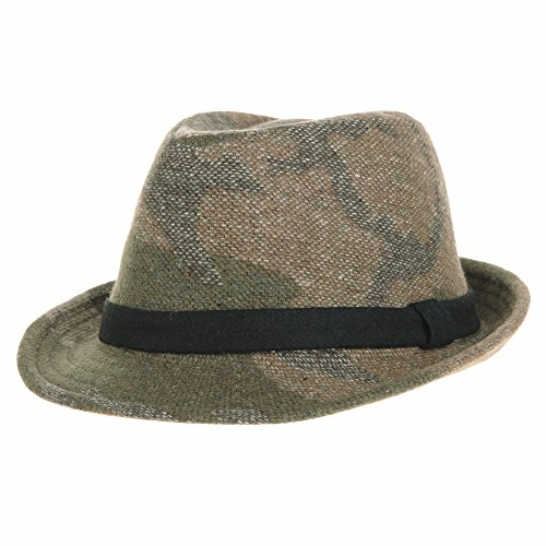 WITHMOONS Camouflage Fedora Hat Wool Felt Trilby Banded SL6450 (Brown) (Camo Felt Hat)