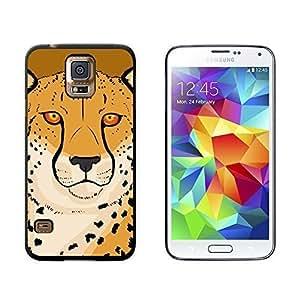 New Style Cheetah - Safari Big Cat - Snap On Hard Protective Case for Samsung Galaxy S5 - Black