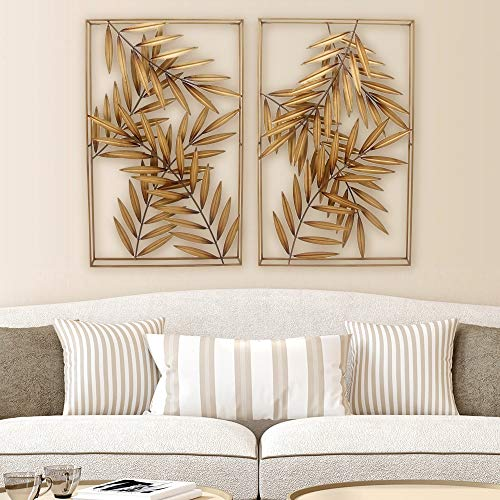 (SPAZIO 7803-2 Palm Metal Wall Décor, Antique Gold)