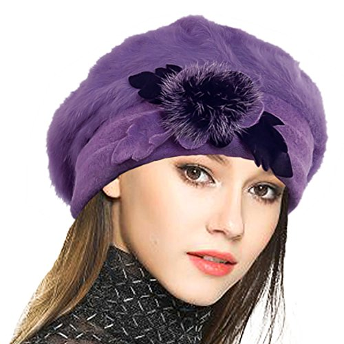 French Small Hat Purple - VECRY Lady French Beret 100% Wool Beret Floral Dress Beanie Winter Hat (Angola-Purple)