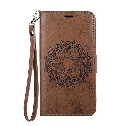 Galaxy A8 (2018) Hülle,COWX Handyhülle für Samsung Galaxy A8 (2018) Hülle Leder Flip Case Brieftasche Etui Schutzhülle für Samsung A8 (2018) Tasche Cover Datura Blumen (Braun)