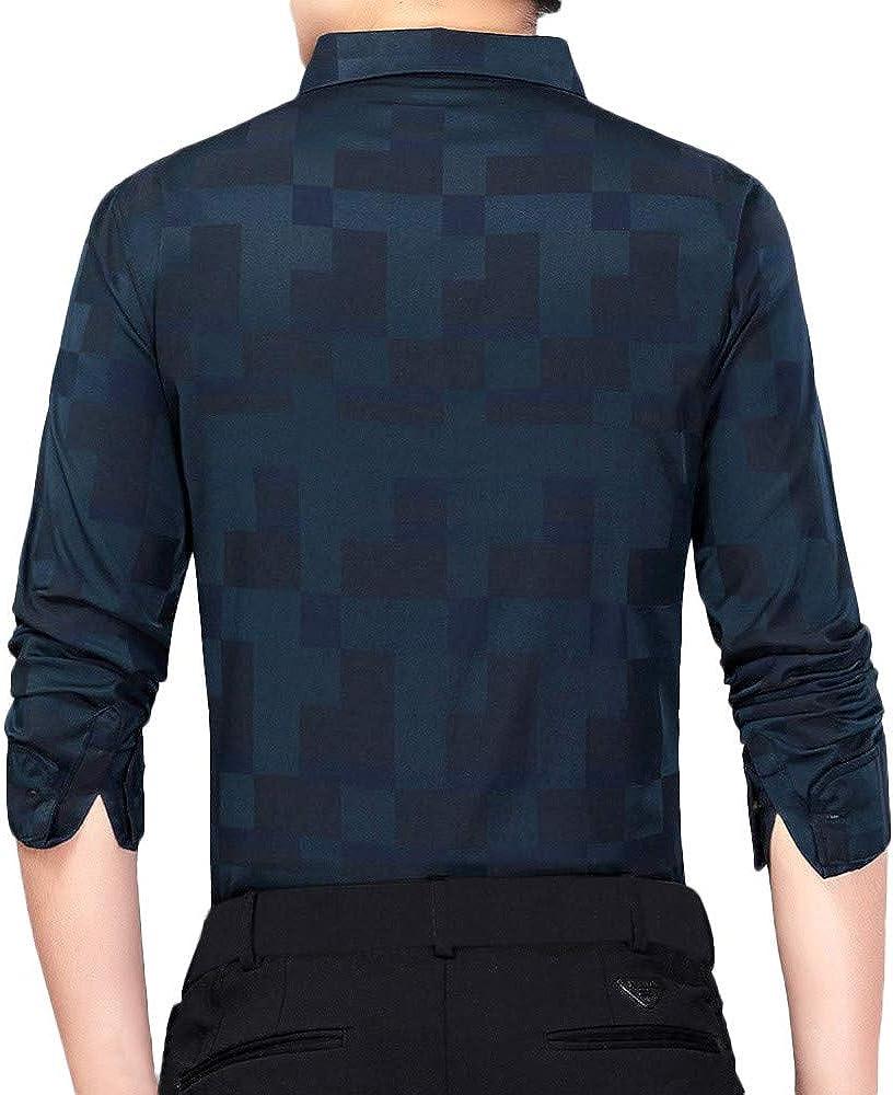 Mens Dress Shirts,Novelty Tetris Print Long Sleeve Shirt Business Blouse Top Zulmaliu