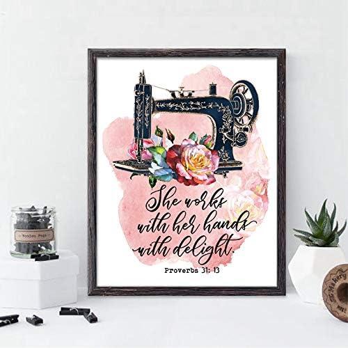 liwendi Máquina De Coser De La Vendimia Proverbio 31:13 Cita ...