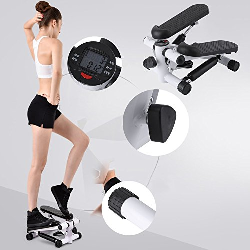 Lovelystar Household Mini Stepper Multifunction Aerobic Twister Step Air Stair Climber with Adjustable Resistance Bands, Health and Fitness Exercise Machine Equipment Treadmill by Lovelystar