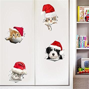 Weaeo Agujero Vista 3D Perros Gatos Vivos Adhesivo Pared Sala De Baño WC Sticker Decoración De Navidad Calcomanías De Vinilo Adhesivo Cartel Animal: ...
