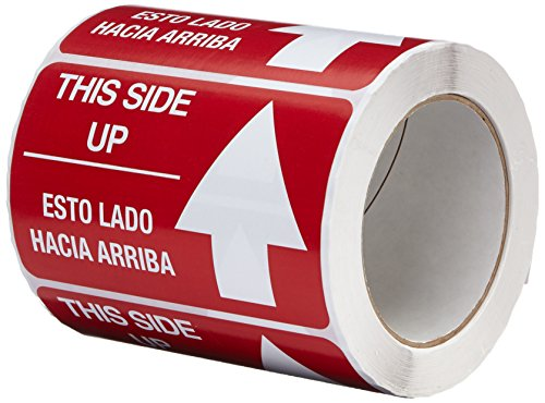 """TapeCase SHIPLBL-088 Printed Red Labelling Tape – (Pack of 500) Adhesive Sticker Tape with White """"This Side up/Esta Lado Hacia Arriba"""" Lettering. Labels and Adhesives from TapeCase"""
