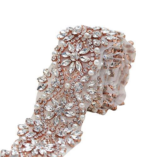 (XINFANGXIU Rose Gold Beaded Wide Wedding Dress Rhinestone Belt Applique Crystal Bridal Wedding Dress Ribbon Sash Applique (Rose Gold-Wide))