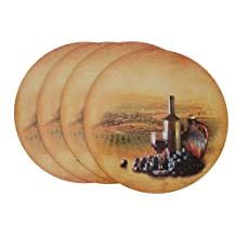 Benson Mills Piedmont Round Hard Backed Printed Cork Placemats, Set of 4